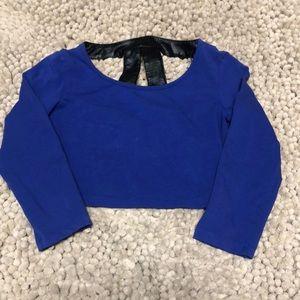 Bebe blue and snake skin crop top